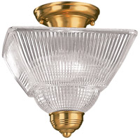 Majestic Square 2 Light 10 inch Polished Brass Semi Flush Ceiling Light