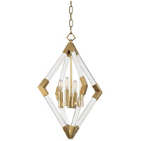 Lyons 4 Light 17 inch Aged Brass Pendant Ceiling Light