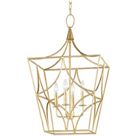 Green Point 4 Light 18 inch Gold Leaf Pendant Ceiling Light