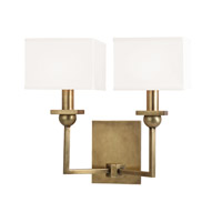 Hudson Valley Lighting Morris 2 Light Wall Sconce in Aged Brass with White Faux Silk Shade 5212-AGB-WS