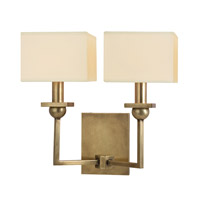 Hudson Valley Lighting Morris 2 Light Wall Sconce in Aged Brass with Eco Paper Shade 5212-AGB