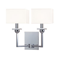 Hudson Valley Lighting Morris 2 Light Wall Sconce in Polished Chrome with White Faux Silk Shade 5212-PC-WS