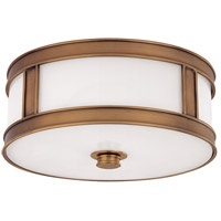 Patterson 3 Light 16 inch Aged Brass Flush Mount Ceiling Light