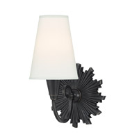 Bleecker 1 Light 7 inch Old Bronze Wall Sconce Wall Light in White Faux Silk
