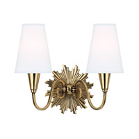 Bleecker 2 Light 15 inch Aged Brass Wall Sconce Wall Light in White Faux Silk