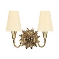 Hudson Valley Lighting Bleecker 2 Light Wall Sconce in Aged Brass with Eco Paper Shade 5592-AGB