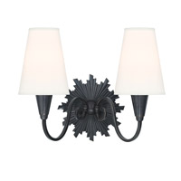 Hudson Valley Lighting Bleecker 2 Light Wall Sconce in Old Bronze with White Faux Silk Shade 5592-OB-WS