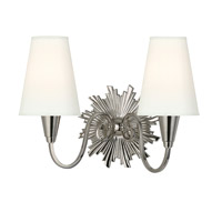 Hudson Valley Lighting Bleecker 2 Light Wall Sconce in Polished Nickel with White Faux Silk Shade 5592-PN-WS