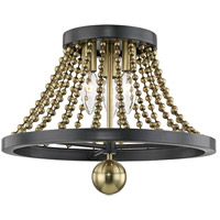 Hudson Valley 5710-AGB Spool 3 Light 14 inch Aged Brass Flush Mount Ceiling Light