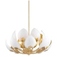 Hudson Valley 5739-GL/WH Lotus 16 Light 41 inch Gold Leaf Chandelier Ceiling Light
