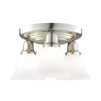 Hudson Valley 587-SN-341 Edison 3 Light 16 inch Satin Nickel Semi Flush Ceiling Light