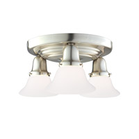 Edison 3 Light 16 inch Satin Nickel Semi Flush Ceiling Light
