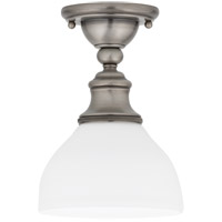 Sutton 1 Light 7 inch Antique Nickel Semi Flush Ceiling Light