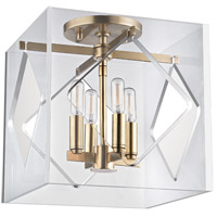 Travis 4 Light 12 inch Aged Brass Flush Mount Ceiling Light