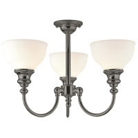 Sutton 3 Light 22 inch Antique Nickel Semi Flush Ceiling Light