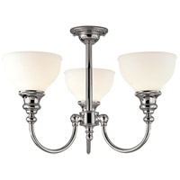 Sutton 3 Light 22 inch Polished Nickel Semi Flush Ceiling Light