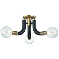 Desmond 3 Light 27 inch Black with Aged Brass Semi Flush Ceiling Light