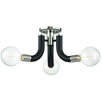Desmond 3 Light 27 inch Black with Polished Nickel Semi Flush Ceiling Light