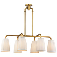 Hudson Valley 6066-AGB Malden 6 Light 41 inch Aged Brass Island Ceiling Light