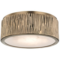 Crispin LED 9 inch Aged Brass Flush Mount Ceiling Light, Spanish Alabaster, Small