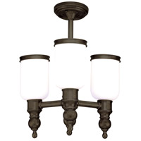 Chatham 3 Light 16 inch Distressed Bronze Semi Flush Ceiling Light