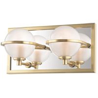 Aged Brass Glass Bathroom Vanity Lights
