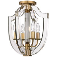 Arietta 4 Light 13 inch Aged Brass Semi-Flush Ceiling Light