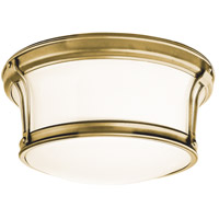 Newport Flush 2 Light 10 inch Aged Brass Flush Mount Ceiling Light