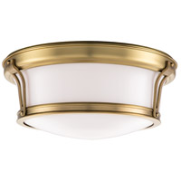 Newport Flush 2 Light 13 inch Aged Brass Flush Mount Ceiling Light