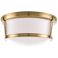 Newport Flush 3 Light 15 inch Aged Brass Flush Mount Ceiling Light