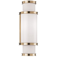 Malcolm 1 Light 5 inch Aged Brass Bath Wall Light, White