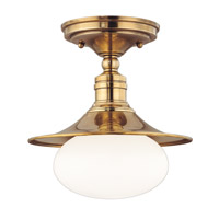Hudson Valley 6711-AGB Lawton 1 Light 10 inch Aged Brass Semi Flush Ceiling Light photo thumbnail