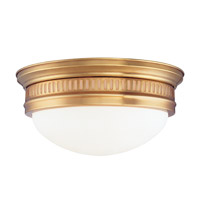 Hudson Valley Lighting Lockport 3 Light Flush Mount in Aged Brass 6715-AGB