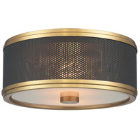 Fraser 2 Light 11 inch Aged Brass Semi-Flush Ceiling Light