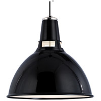 Lydney 1 Light 12 inch Black and Polished Nickel Pendant Ceiling Light in Black Polished Nickel
