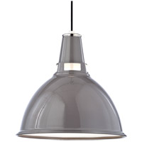 Hudson Valley Lighting Lydney 1 Light Pendant in Gray and Polished Nickel 6820-GPN