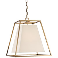 Hudson Valley Lighting Kyle 4 Light Pendant in Aged Brass with White Faux Silk Shade 6917-AGB-WS