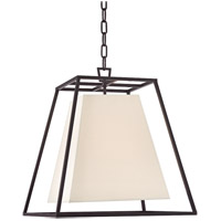 Hudson Valley Lighting Kyle 4 Light Pendant in Old Bronze with White Faux Silk Shade 6917-OB-WS