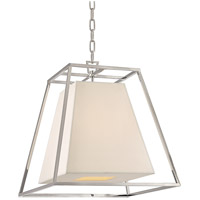 Kyle 4 Light 17 inch Polished Nickel Pendant Ceiling Light in White Faux Silk