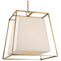 Hudson Valley 6924-AGB-WS Kyle 6 Light 24 inch Aged Brass Chandelier Ceiling Light in White Faux Silk