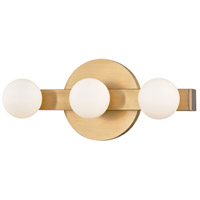 Hudson Valley 7003-AGB Taft LED 11 inch Aged Brass ADA Wall Sconce Wall Light Opal Matte