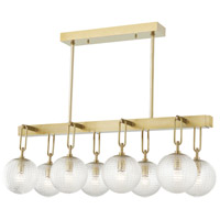 Hudson Valley 7108-AGB Jewett 8 Light 20 inch Aged Brass Linear Pendant Ceiling Light