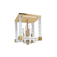 Alpine 4 Light 12 inch Aged Brass Semi Flush Ceiling Light