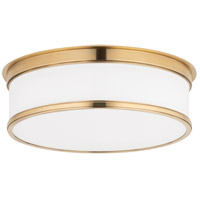 Geneva 3 Light 15 inch Aged Brass Flush Mount Ceiling Light