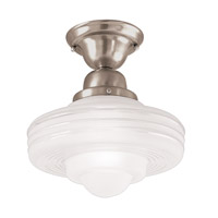 Hudson Valley Lighting Diner 1 Light Semi Flush in Satin Nickel 7631-SN