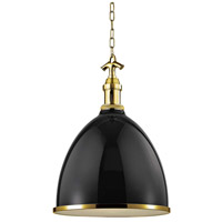 Hudson Valley 7718-BAGB Viceroy 1 Light 17 inch Black / Aged Brass Pendant Ceiling Light
