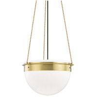 Hudson Valley 7719-AGB Silo 1 Light 19 inch Aged Brass Pendant Ceiling Light