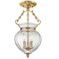 Gardner 3 Light 9 inch Aged Brass Semi Flush Ceiling Light