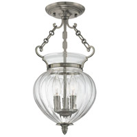 Gardner 3 Light 9 inch Historic Nickel Semi Flush Ceiling Light