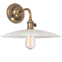 Heirloom 1 Light Aged Brass Wall Sconce Wall Light in Ribbed Clear Glass, GS4, No